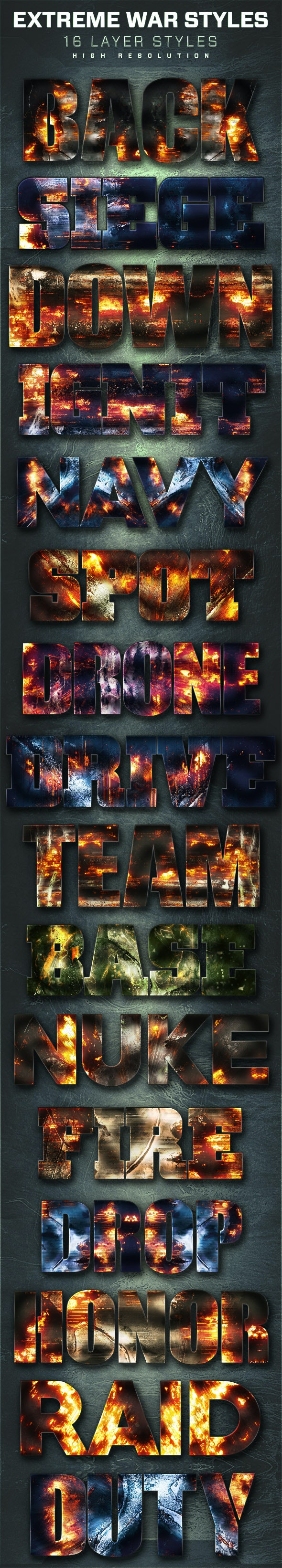 16 Extreme War Layer Styles Volume 3 - Text Effects Styles