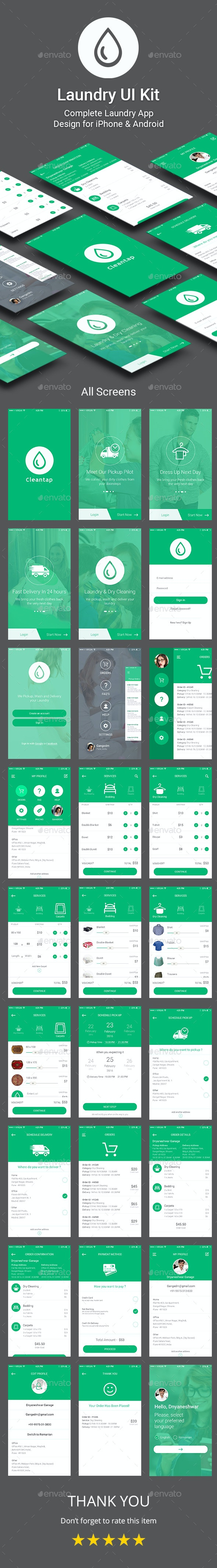 Laundry App UI Kit - User Interfaces Web Elements