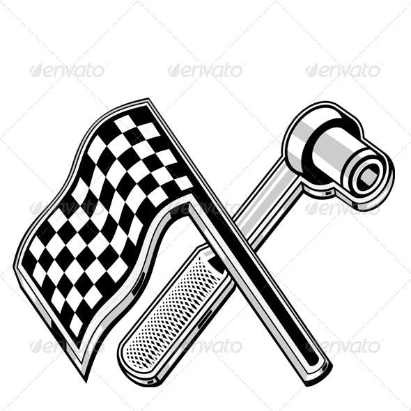 Racing Checkered Flag Crossed Socket Wrench