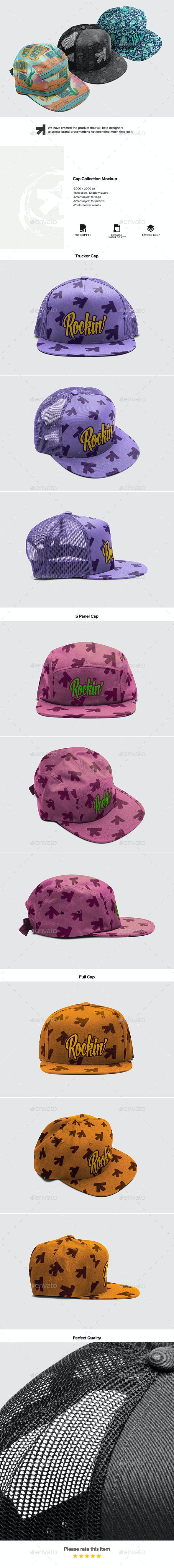 Cap Collection Mockup - Miscellaneous Apparel