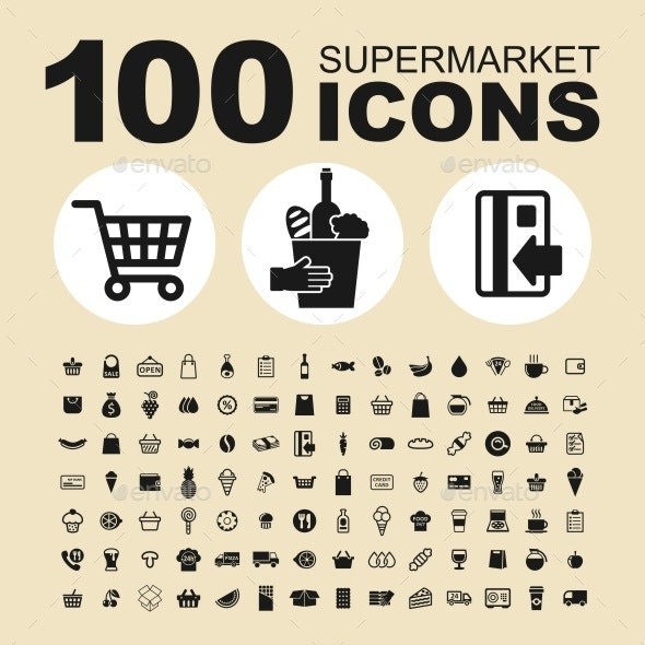 Supermarket vector icons - Food Objects
