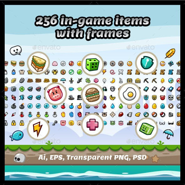 256 Vector Game Items