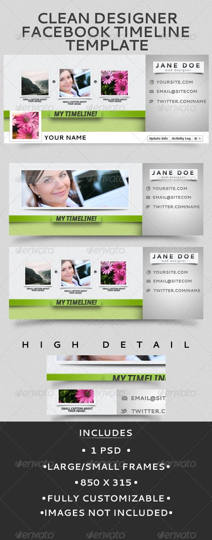 Clean Designer Facebook Timeline Template - Facebook Timeline Covers Social Media