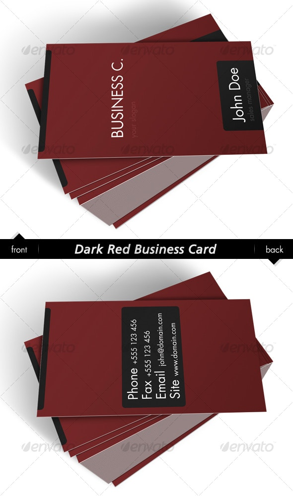 Dark Red Business Card - Corporate Business Cards