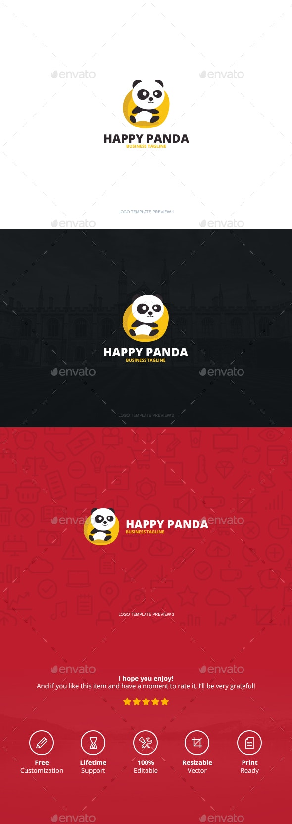 Happy Panda Logo - Logo Templates
