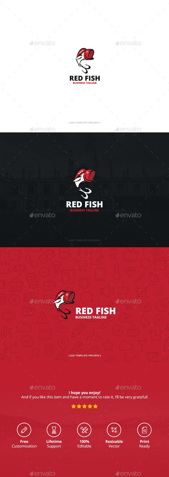 Red Fish Logo by CreativeSquare | GraphicRiver