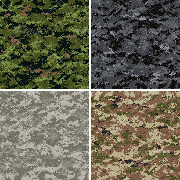 Digital Camouflage Seamless Patterns - Patterns Decorative