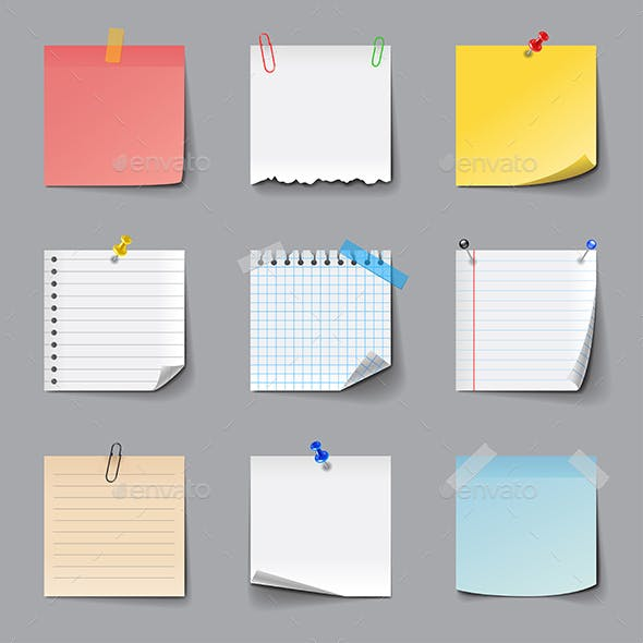 Post It Notes Icons Set
