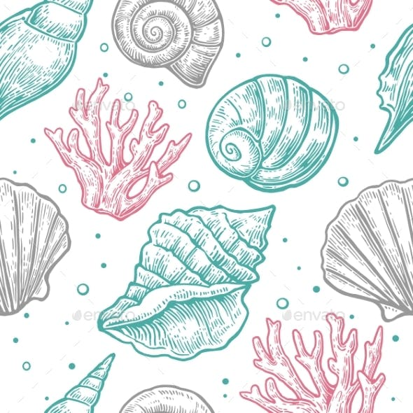 Seamless Pattern Sea Shell