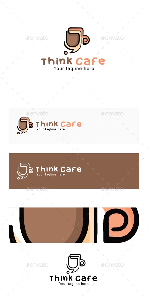 Think Cafe - Creative Coffee Shop Stock Logo Template - Abstract Logo Templates