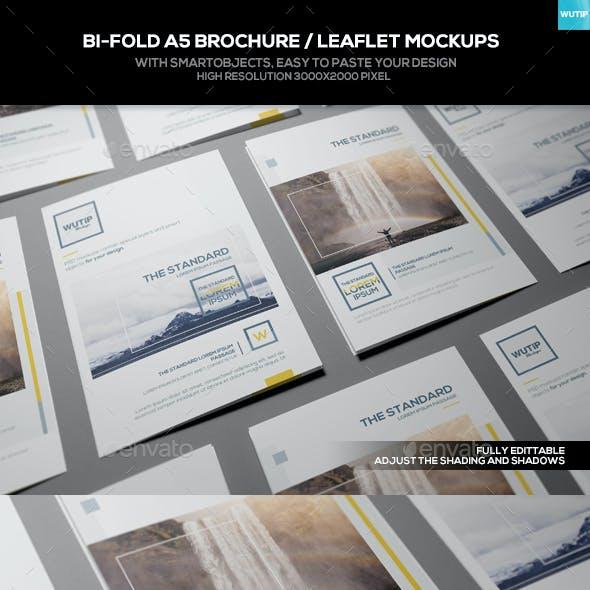 Bi-Fold A5 Brochure/ Leaflet Mockups