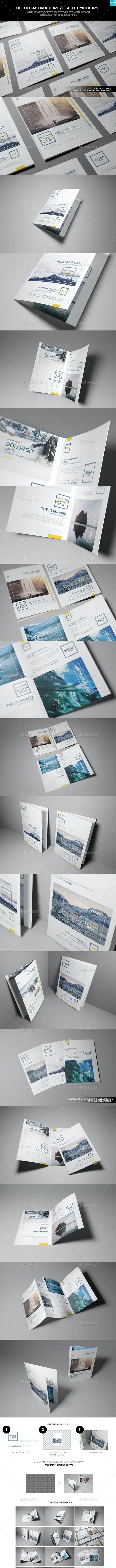 Bi-Fold A5 Brochure/ Leaflet Mockups - Brochures Print
