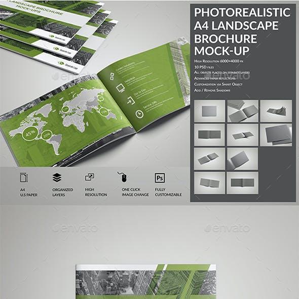 Photorealistic A4 Landscape Brochure / Catalog Mock-Up