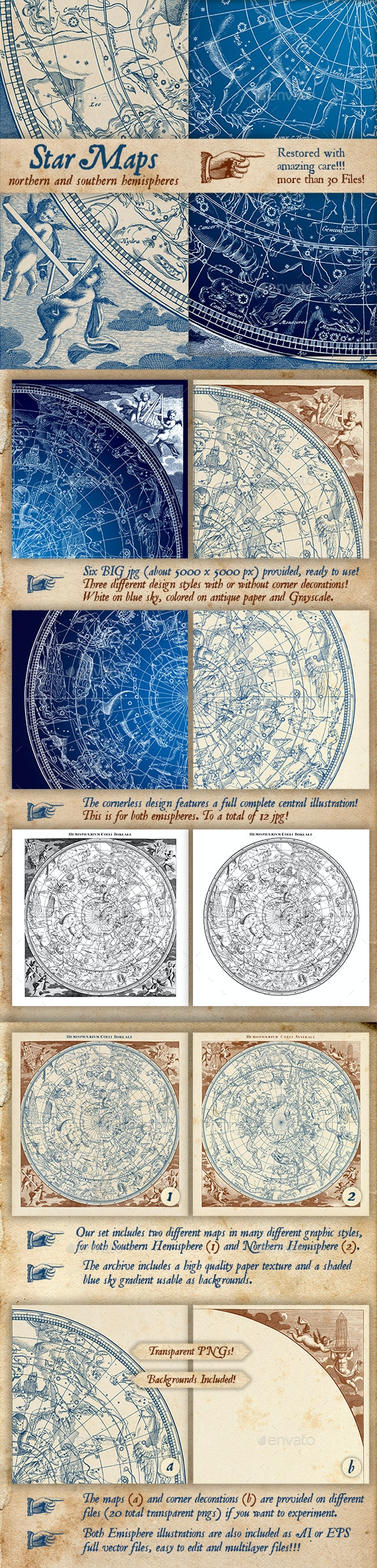 Constellations Vintage Illustrations - Abstract Conceptual