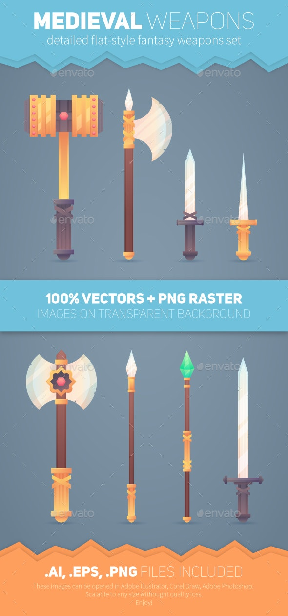 Medieval Fantasy Weapons Pack - Vectors