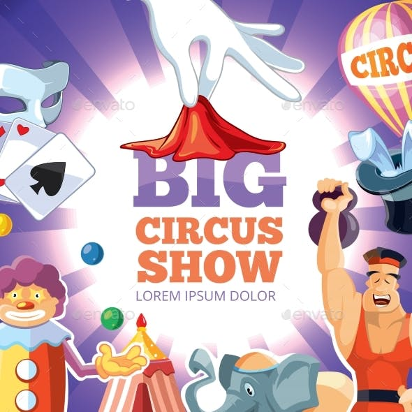 Retro Poster With Vector Illustration Of Circus