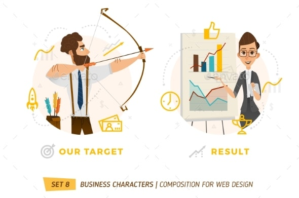 Business Characters In Circle. - Concepts Business