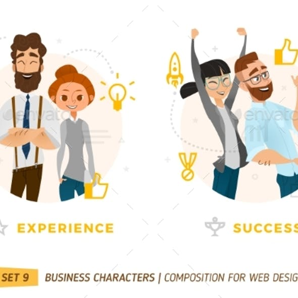 Business Characters In Circle.