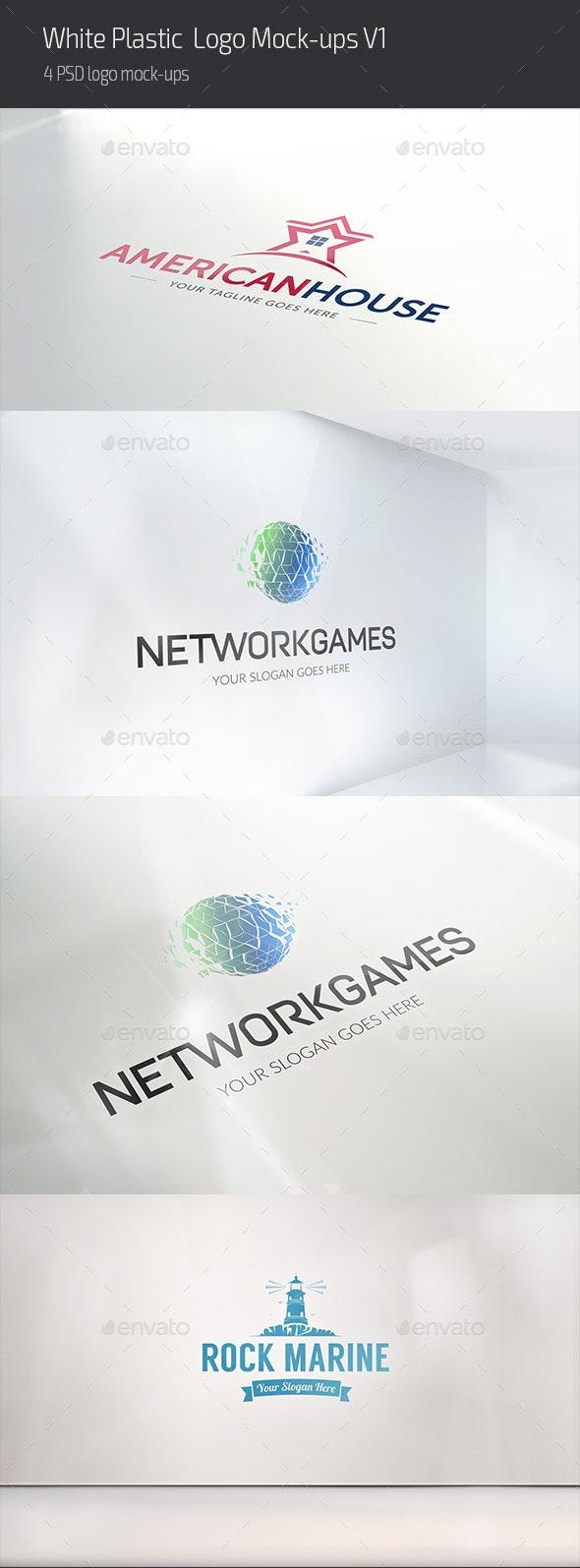 White Plastic Logo Mock-ups V1 - Logo Product Mock-Ups