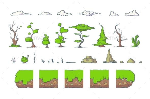 Tile Set For Platformer Game, Seamless Vector - Backgrounds Decorative