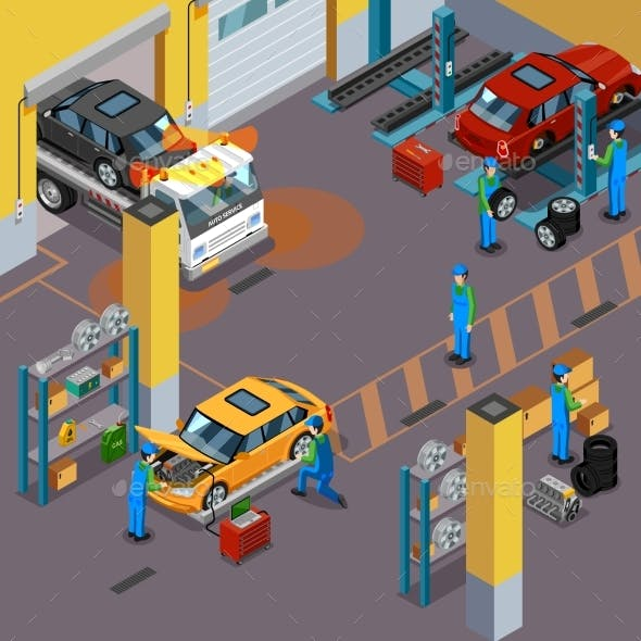 Car Service Isometric Concept