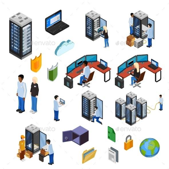 Datacenter Isometric Isolated Icons Set