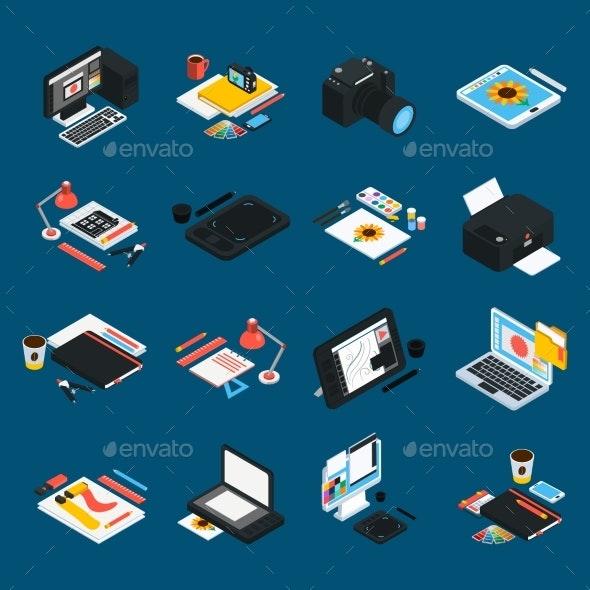 Graphic Design Isometric Icons - Decorative Symbols Decorative