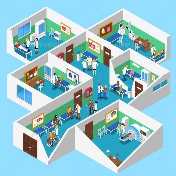 Hospital Facilities Interior Isometric View