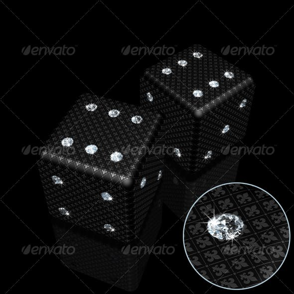 Pair of Black Dice with Sparkles Diamonds
