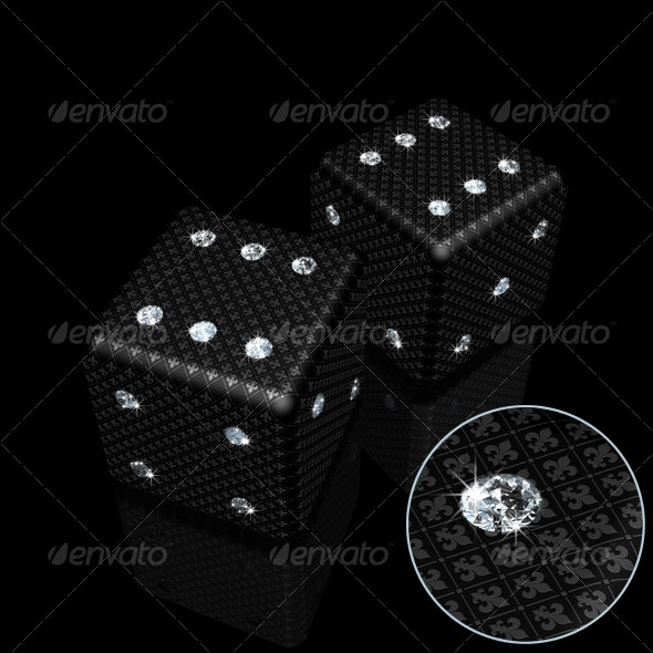 Pair of Black Dice with Sparkles Diamonds - Objects 3D Renders