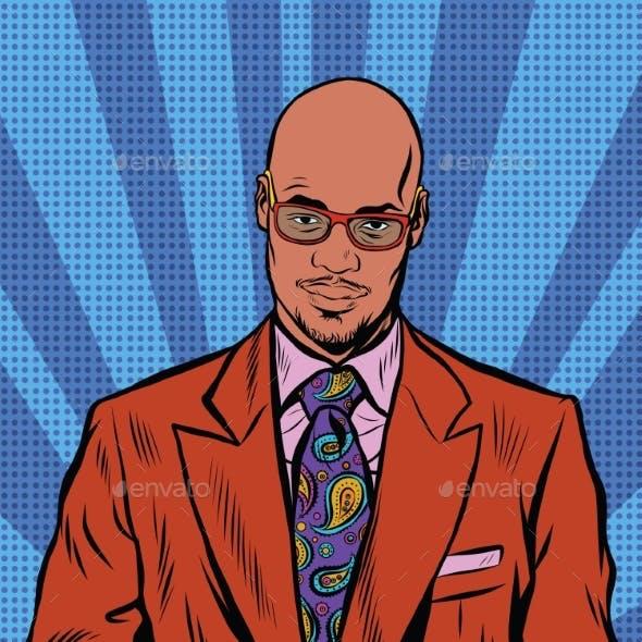 Retro Hipster African American, Black Man, Elegant