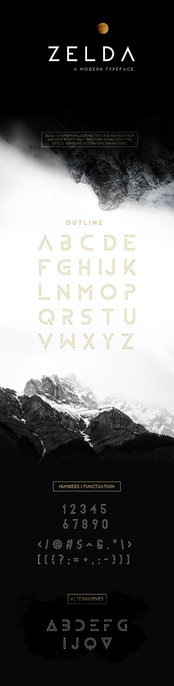 ZELDA typeface (OUTLINE) - Sans-Serif Fonts