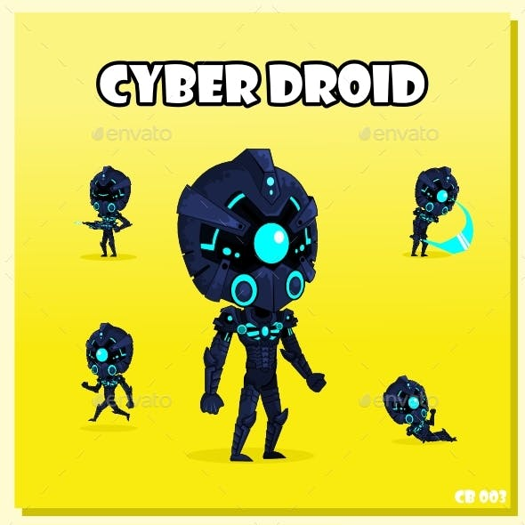 Cyber Droid Spritesheet Character