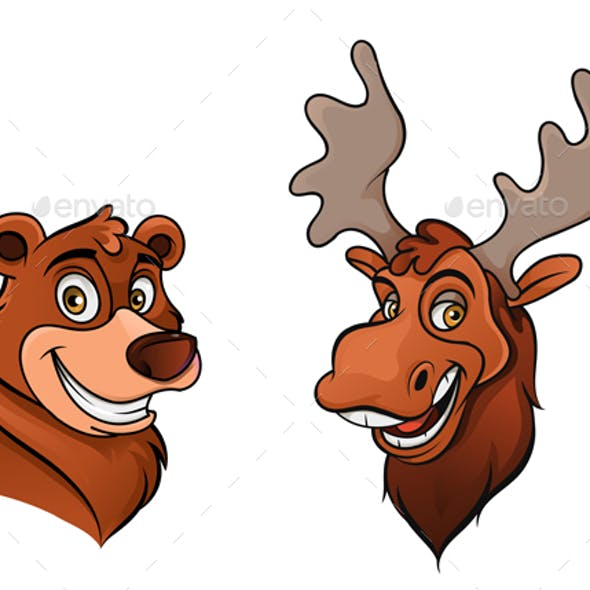 Cheerful Bear and Moose