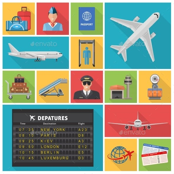 Airport Decorative Flat Icons Set