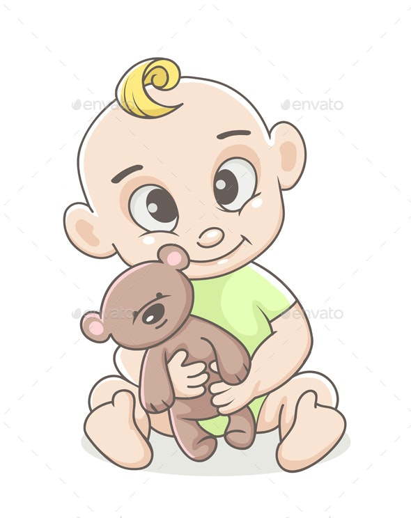 Baby Boy with Toy - People Characters
