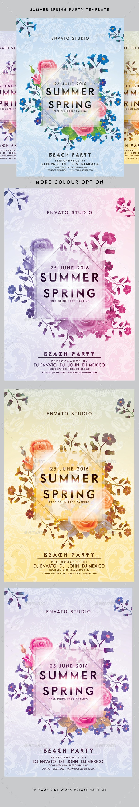 Summer / Spring Party Flyer - Clubs & Parties Events