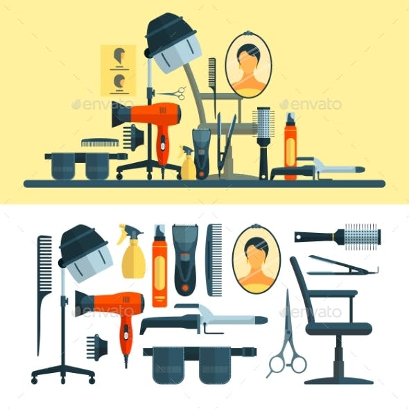 Vector Set Of Hairdresser Objects And Tools