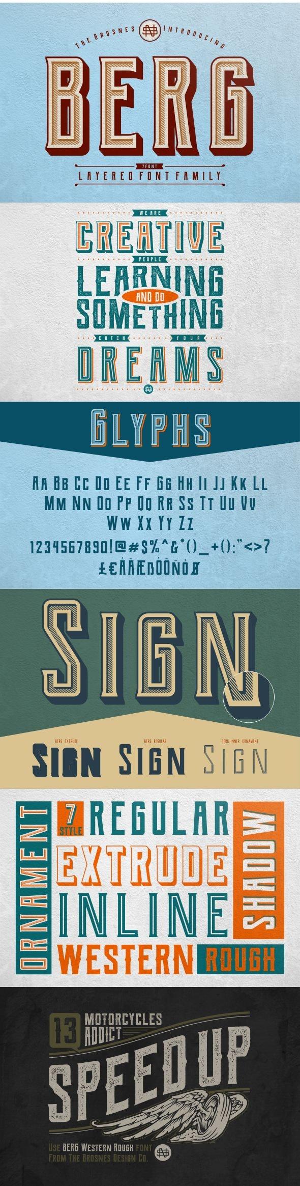 Berg Layered font (7 font) - Cool Fonts