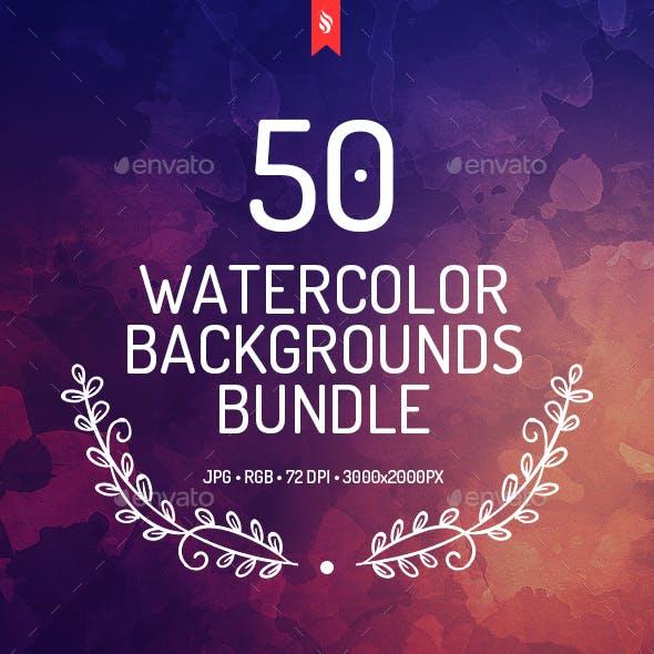 50 Watercolor Backgrounds Bundle
