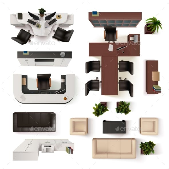 Office Interior Elements Top View Set