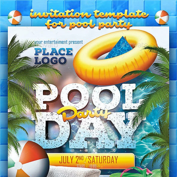 Pool Day Party Poster Template