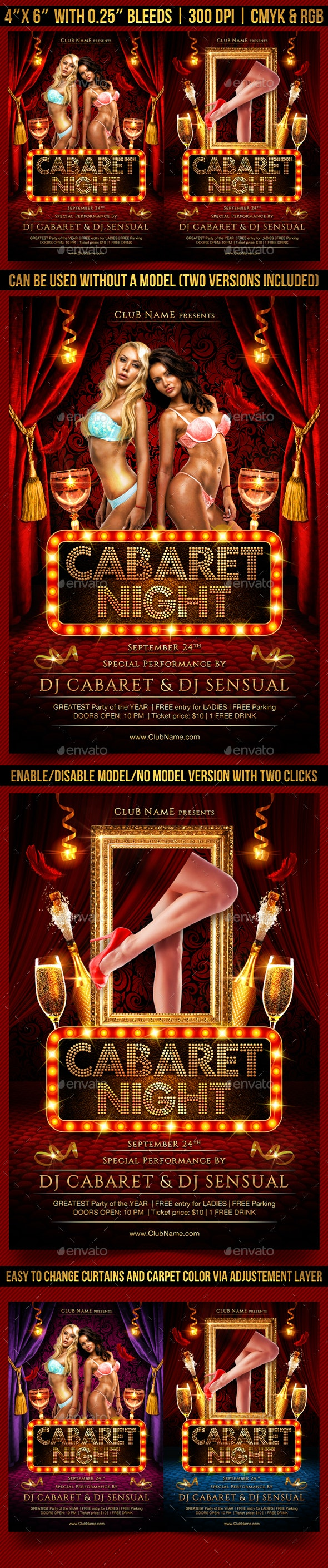 Cabaret or Burlesque Flyer Template - Clubs & Parties Events
