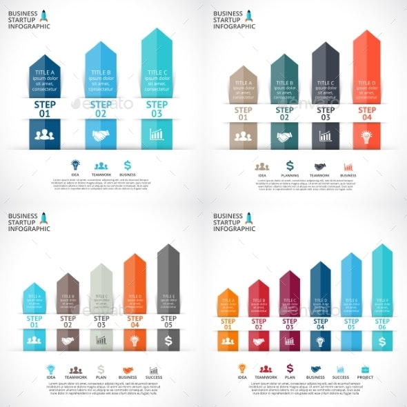 Up Arrows Diagram. Startup Infographic. Graph set. - Infographics