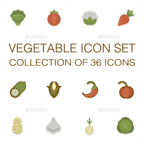 Vegetable icons set - Food Objects