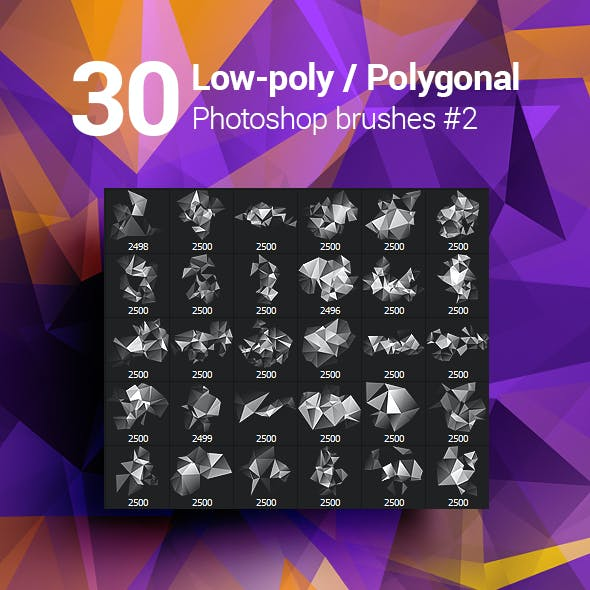 30 Low-Poly / Polygonal / Geometrical Photoshop Brushes #2
