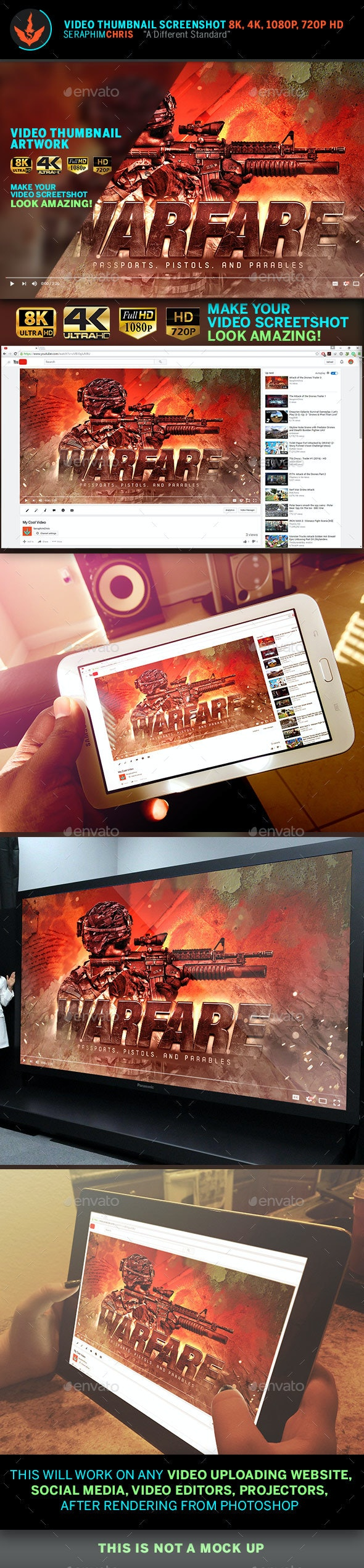Warfare Youtube Video Thumbnail Screenshot Template - YouTube Social Media