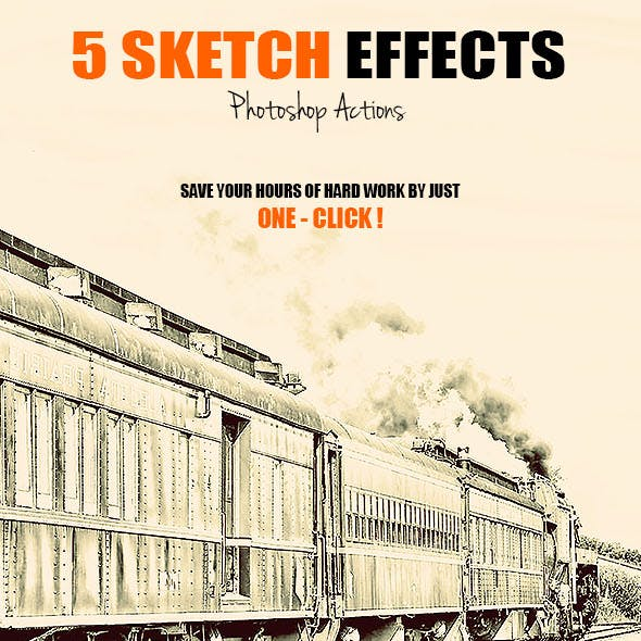 5 Sketch Effects - Photoshop Actions