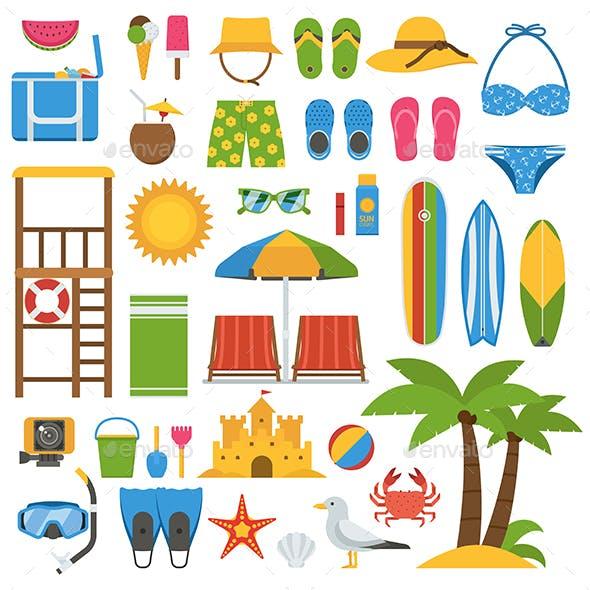 Summer Beach Icon Elements Set