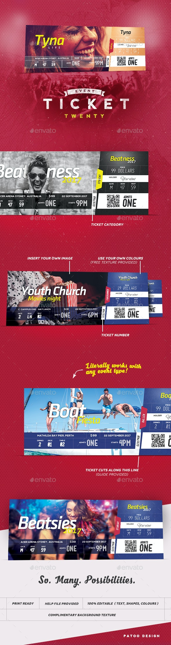 Event Tickets Template 20 - Miscellaneous Print Templates